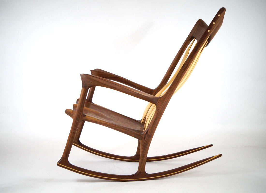 american with maloof low sam an lowrockerwalnutoil and chair rocking ash walnut handmade collection styled rocker home